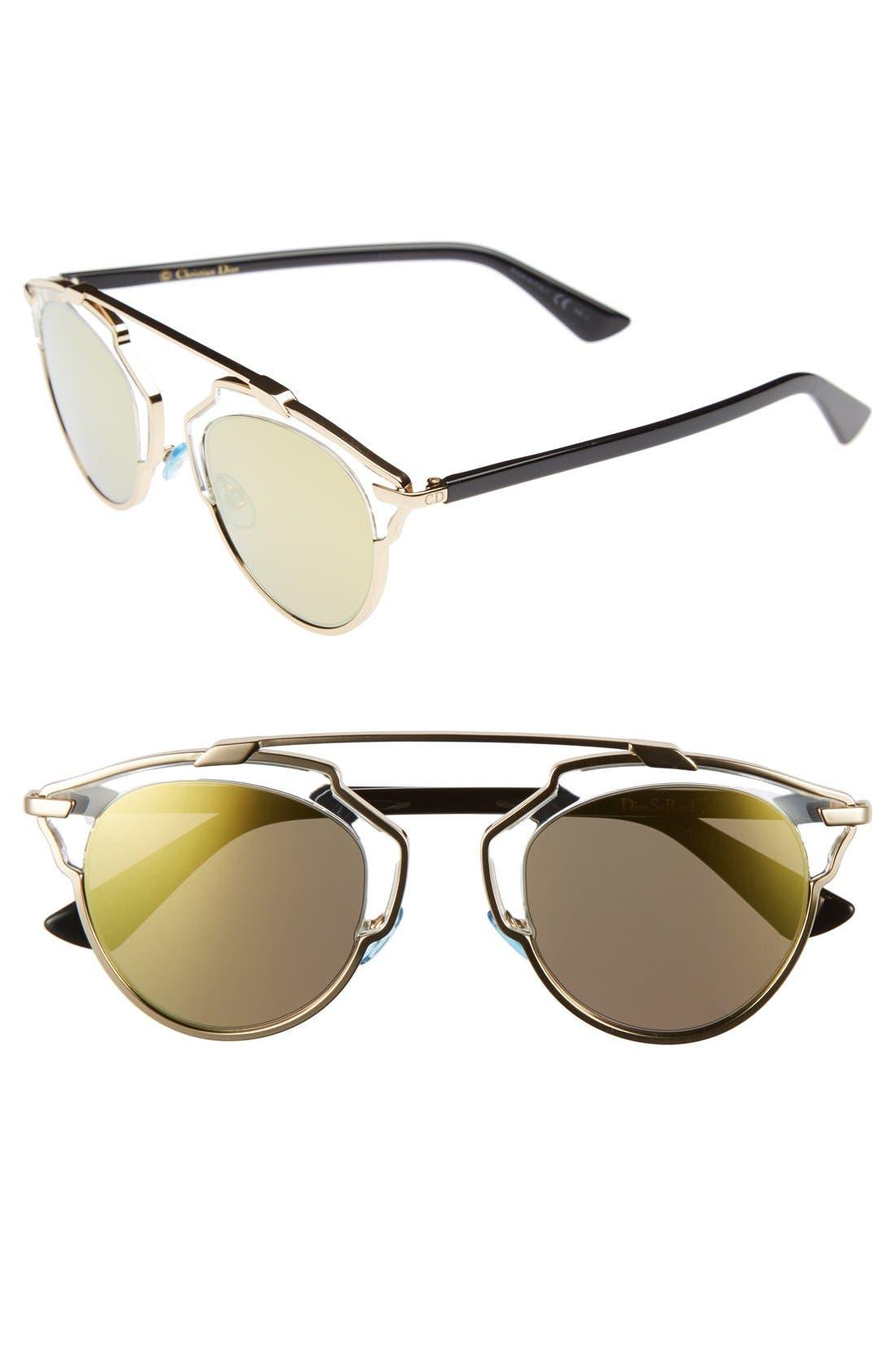 ,                             So Real 48mm Brow Bar Sunglasses,                             Main thumbnail 66, color,                             710