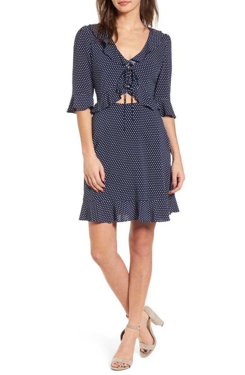 SOPRANO Ruffle Polka Dot Dress, Main, color, 400