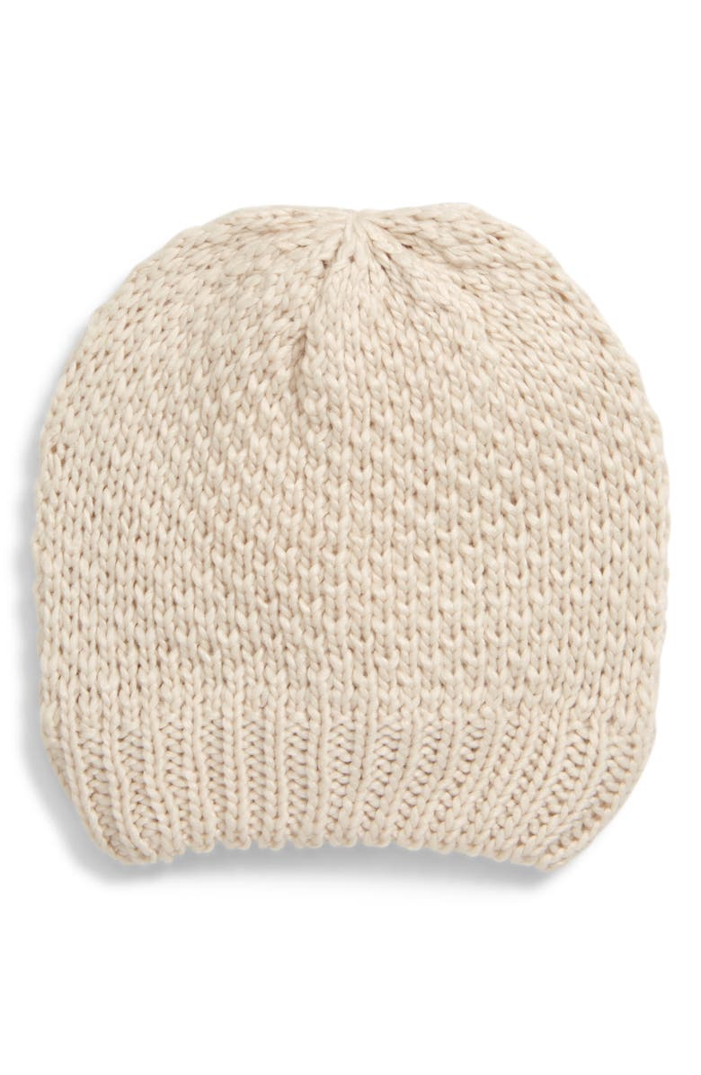 SOMETHING NAVY Slouch Beanie, Main, color, BEIGE OAT LIGHT HEATHER