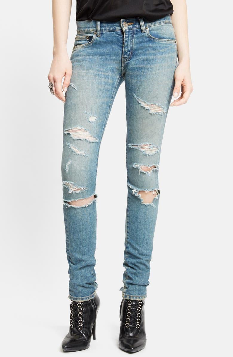 SAINT LAURENT Destroyed Skinny Jeans, Main, color, 400