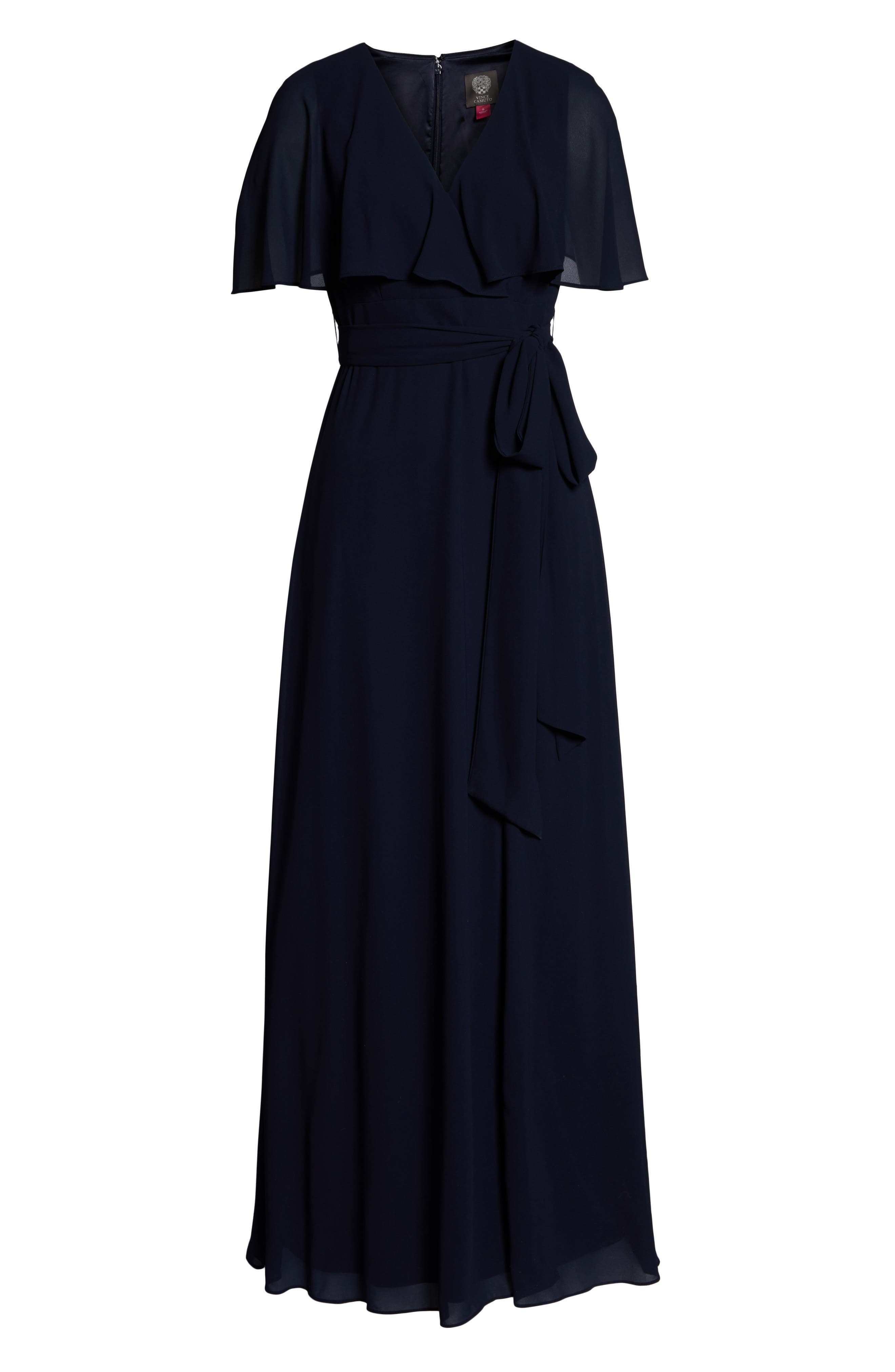 ,                             V-Neck Faux Wrap Chiffon Gown,                             Alternate thumbnail 7, color,                             NAVY