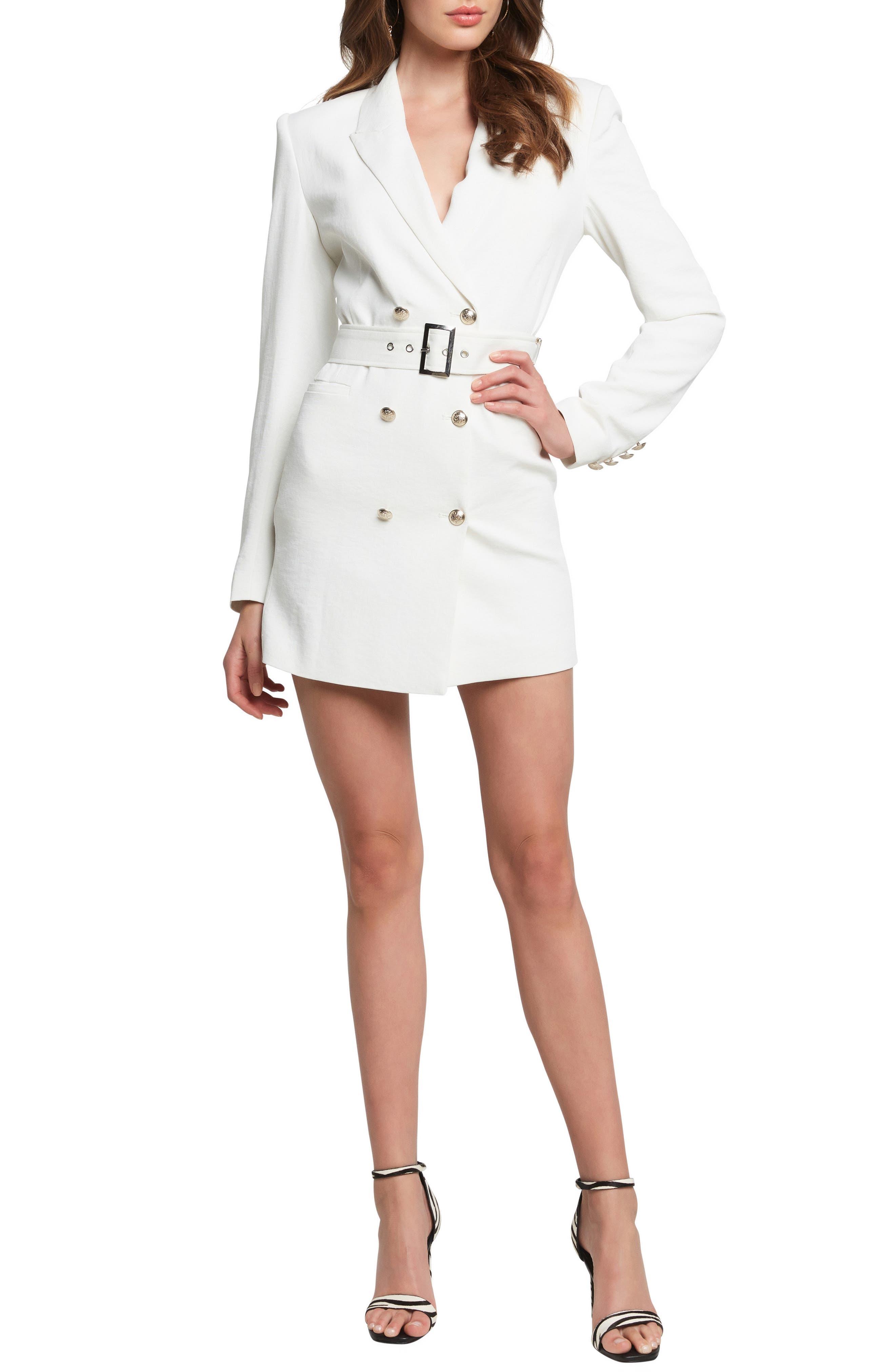 Bardot Addy Long Sleeve Blazer Dress, Ivory