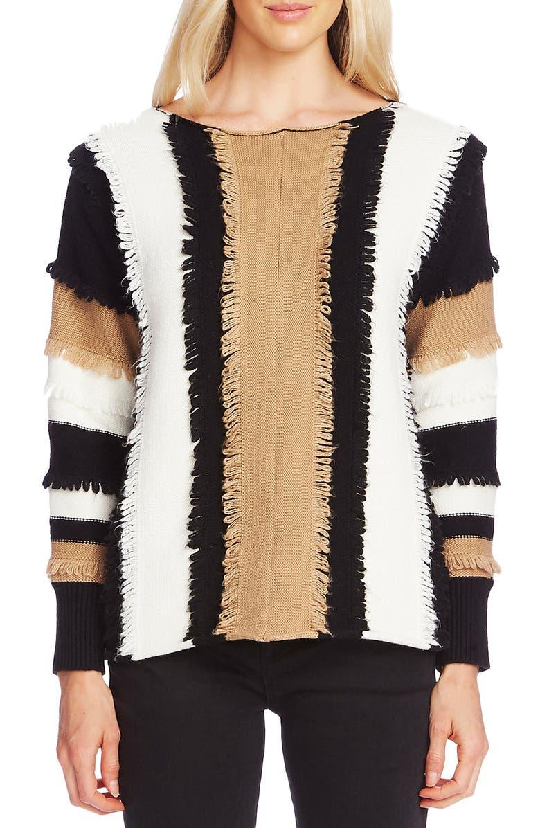 VINCE CAMUTO Colorblock Loop Stitch Sweater, Main, color, LATTE