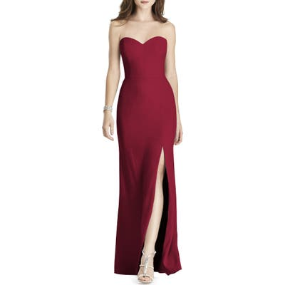 After Six Strapless Crepe Trumpet Gown, Burgundy