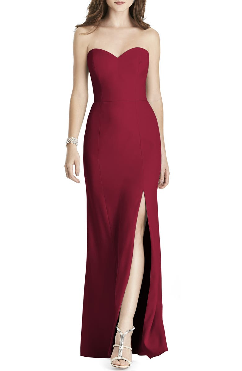 AFTER SIX Strapless Crepe Trumpet Gown, Main, color, BURGUNDY