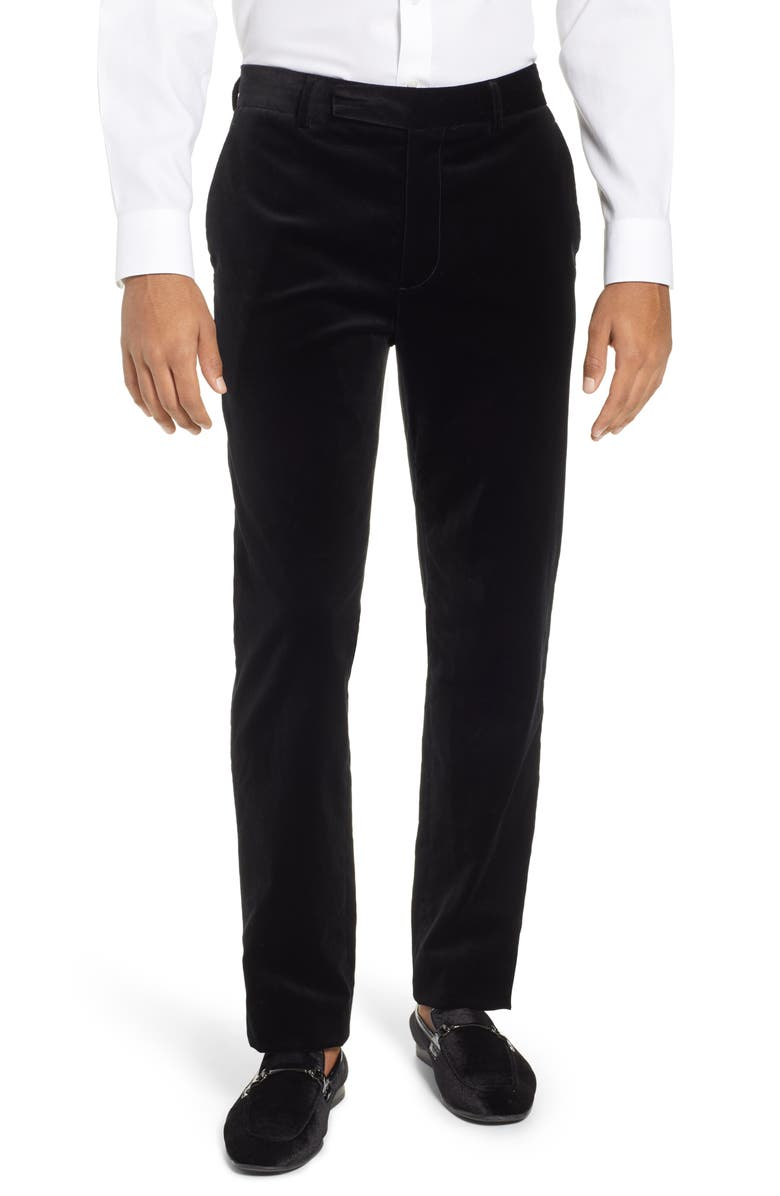FRAME Slim Fit Stretch Velvet Trousers, Main, color, 001