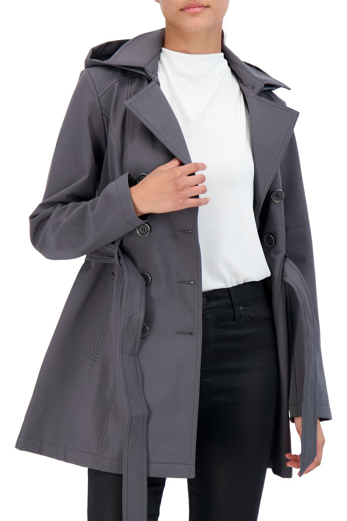 Image of Sebby Softshell Double Breasted Trench