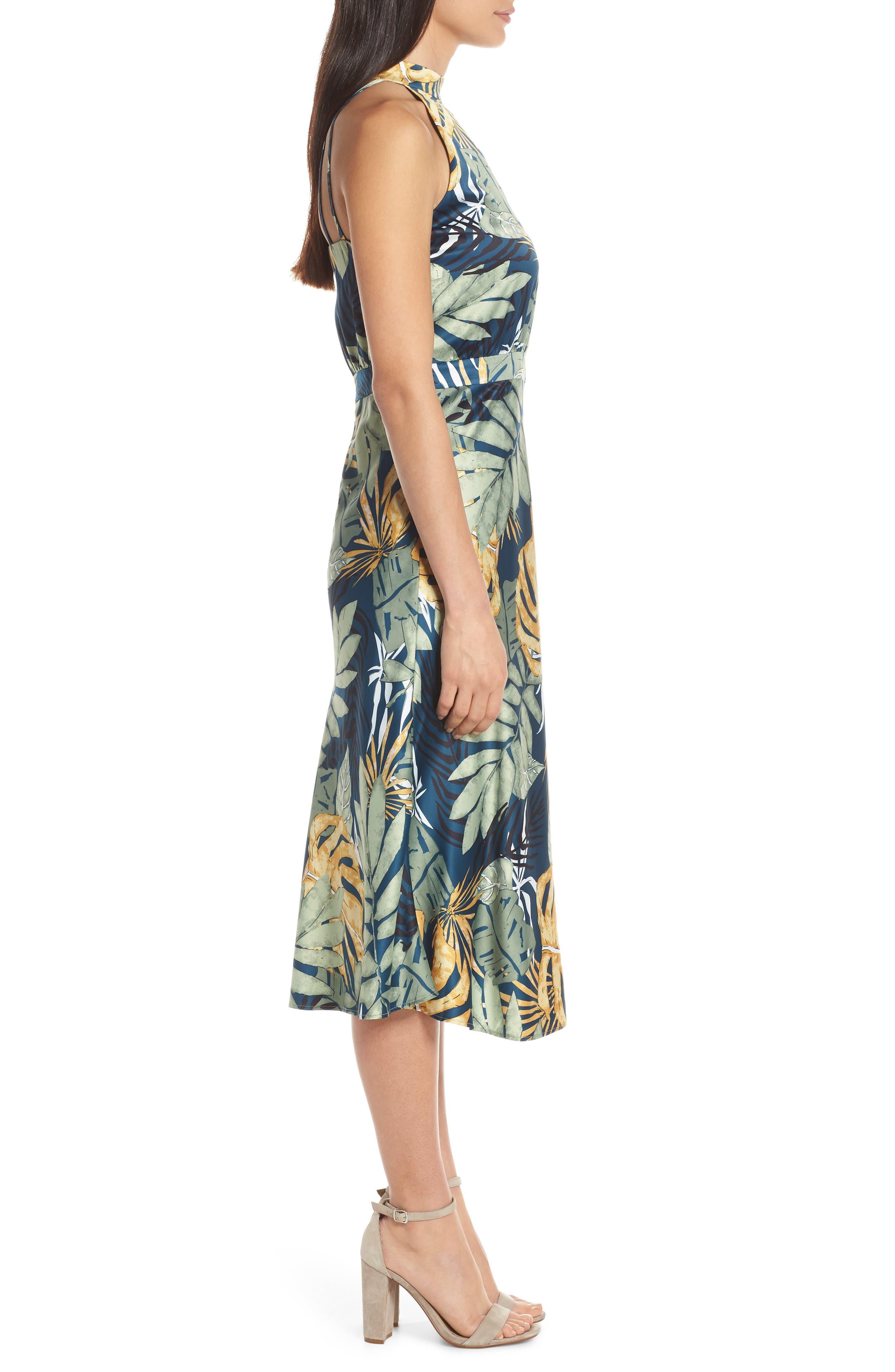 ,                             Floral Print Strappy Back Dress,                             Alternate thumbnail 4, color,                             NAVY FLORAL