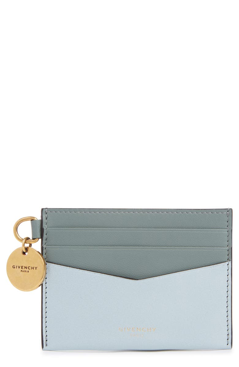 GIVENCHY Bicolor Leather Card Case, Main, color, ICE BLUE