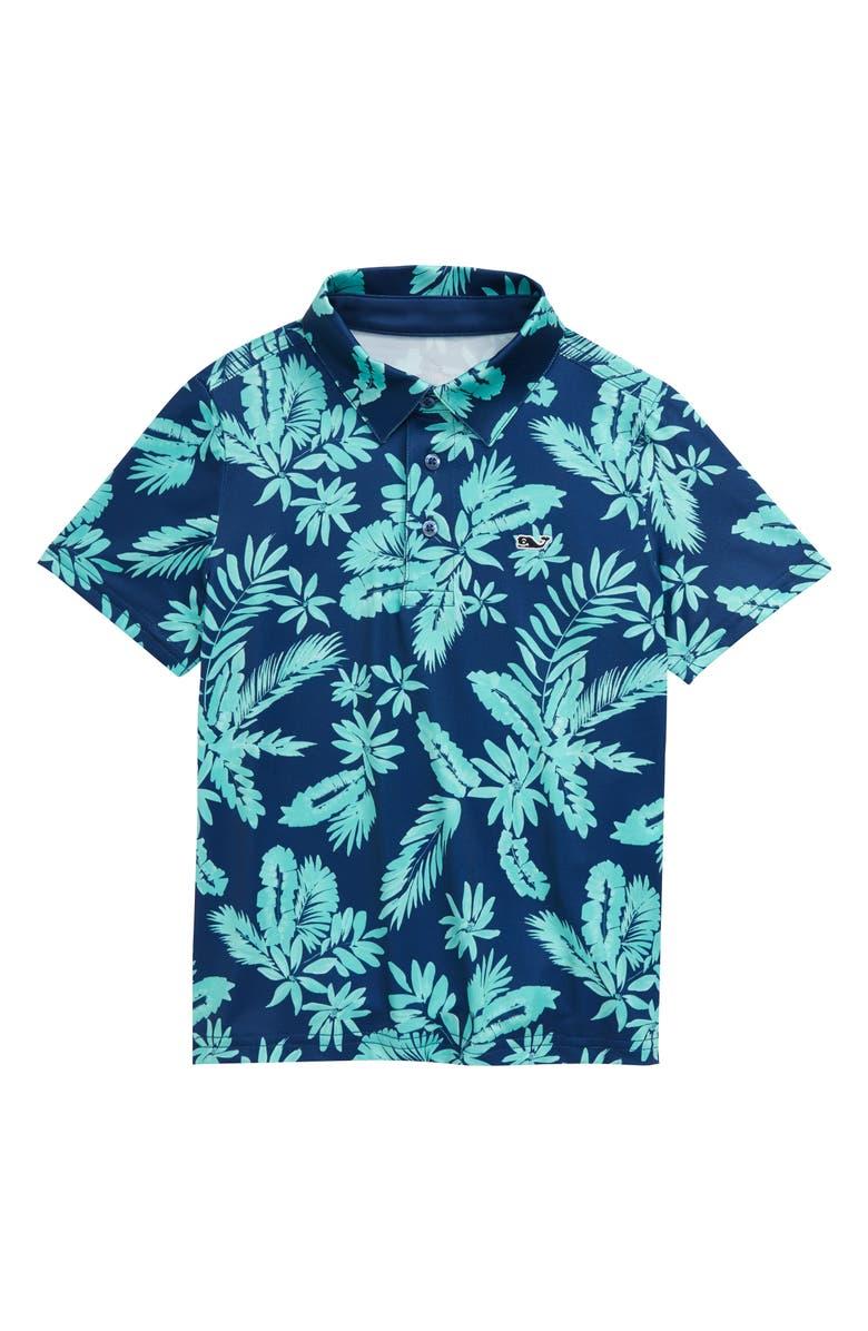 VINEYARD VINES Breakers Floral Print Short Sleeve Polo, Main, color, ANTIGUA GREEN