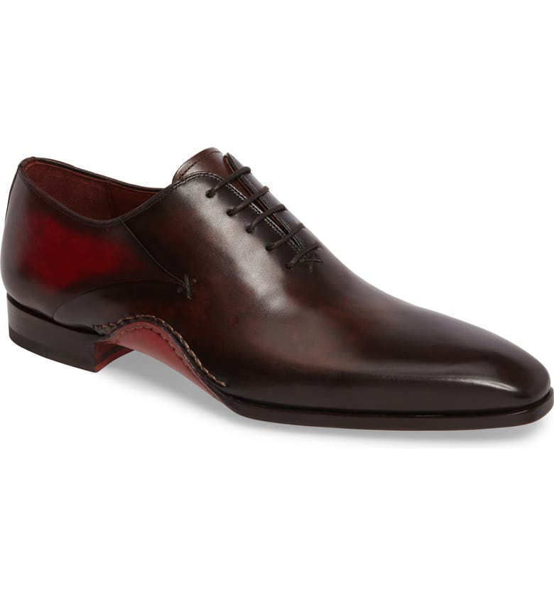 MAGNANNI Cantabria Plain Toe Oxford, Main, color, BROWN/ RED LEATHER