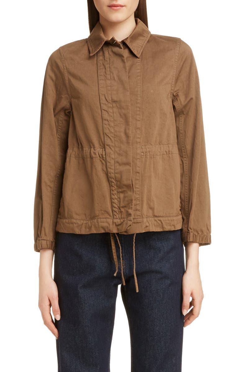 DRIES VAN NOTEN Varella Cinched Cotton Field Jacket, Main, color, KAKI