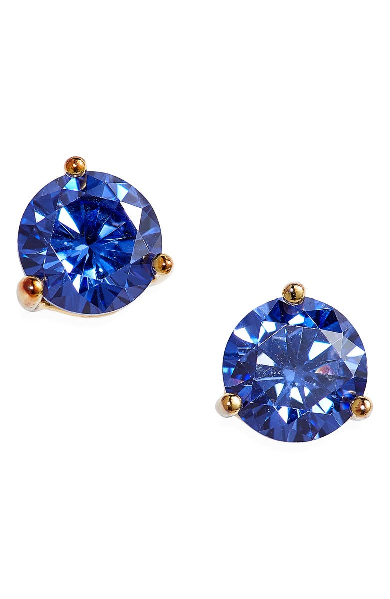 NORDSTROM Sterling Silver Cubic Zirconia Stud Earrings, Main, color, BLUE- GOLD