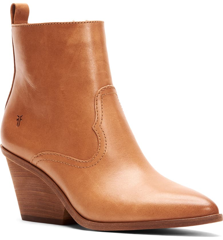 FRYE Amado Demi Wedge Bootie, Main, color, CAMEL LEATHER