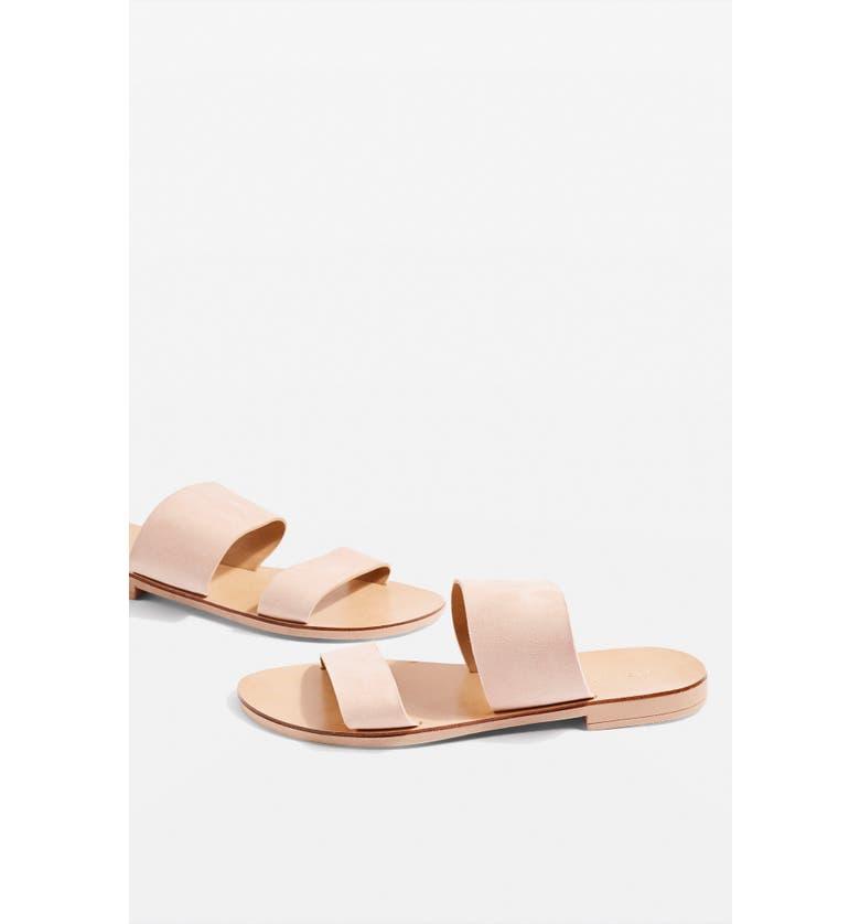 TOPSHOP Happy Suede Sandal, Main, color, NUDE