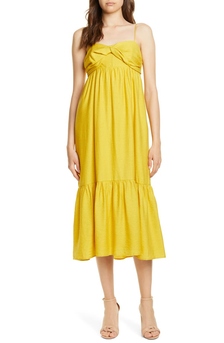 JOIE Chayton Ruffle Hem Midi Sundress, Main, color, SULPHUR