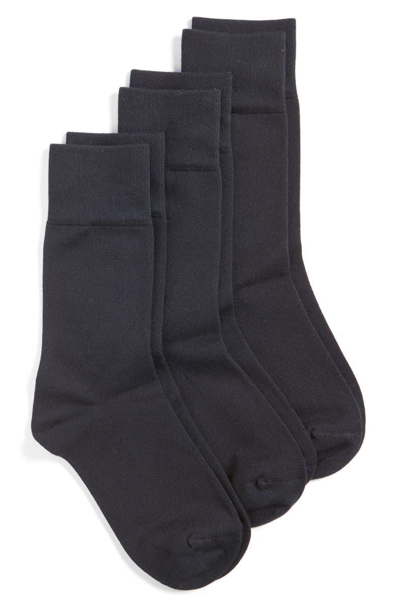 NORDSTROM Crew Socks, Main, color, BLACK