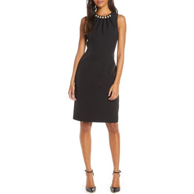 Petite Harper Rose Embellished Sheath Dress, Black