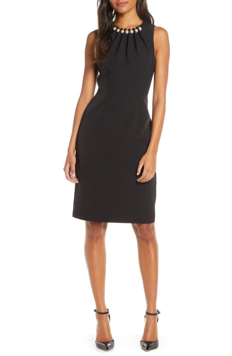 HARPER ROSE Embellished Sheath Dress, Main, color, BLACK