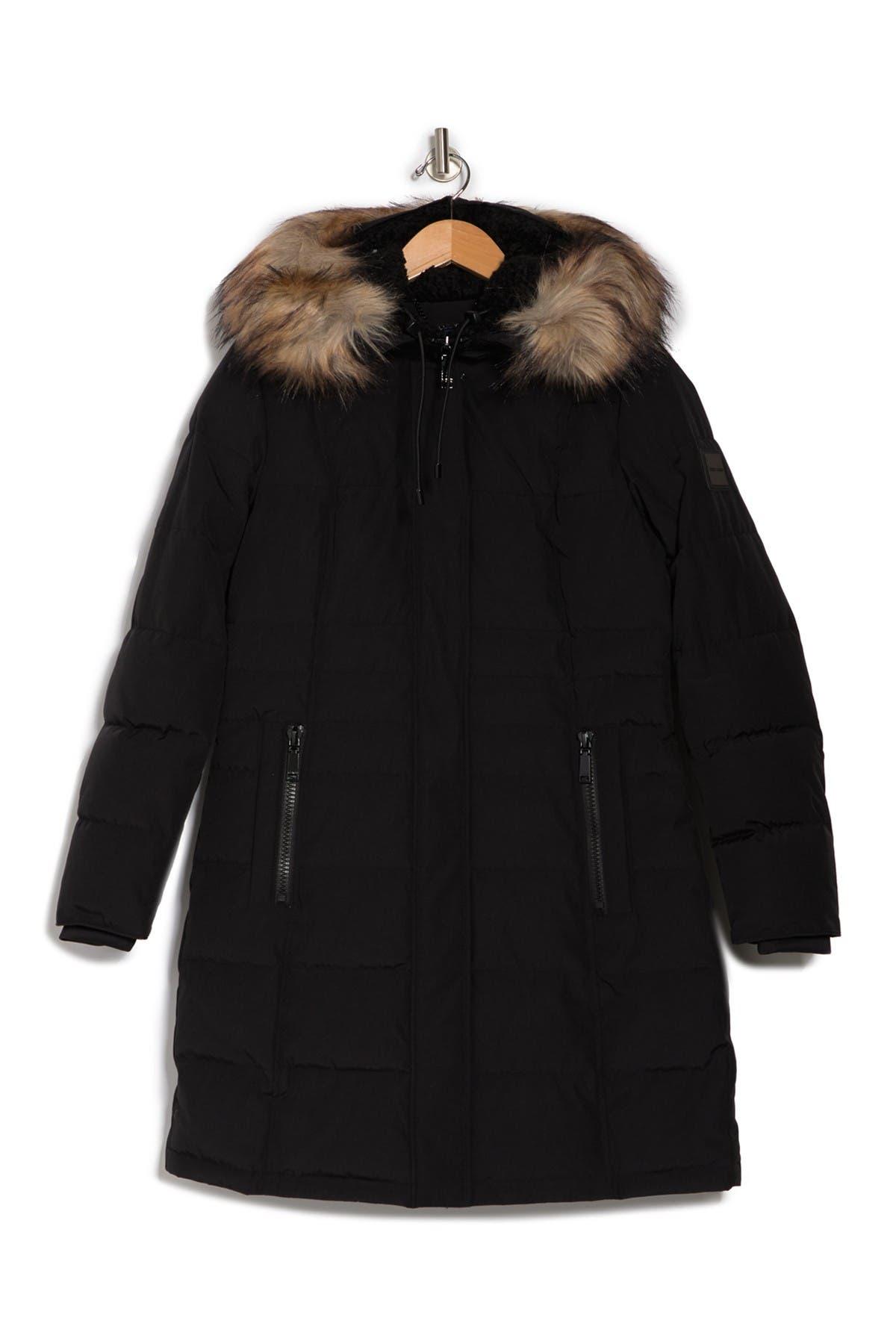 Nine West Faux Shearling & Faux Fur Trim Hooded Puffer Parka