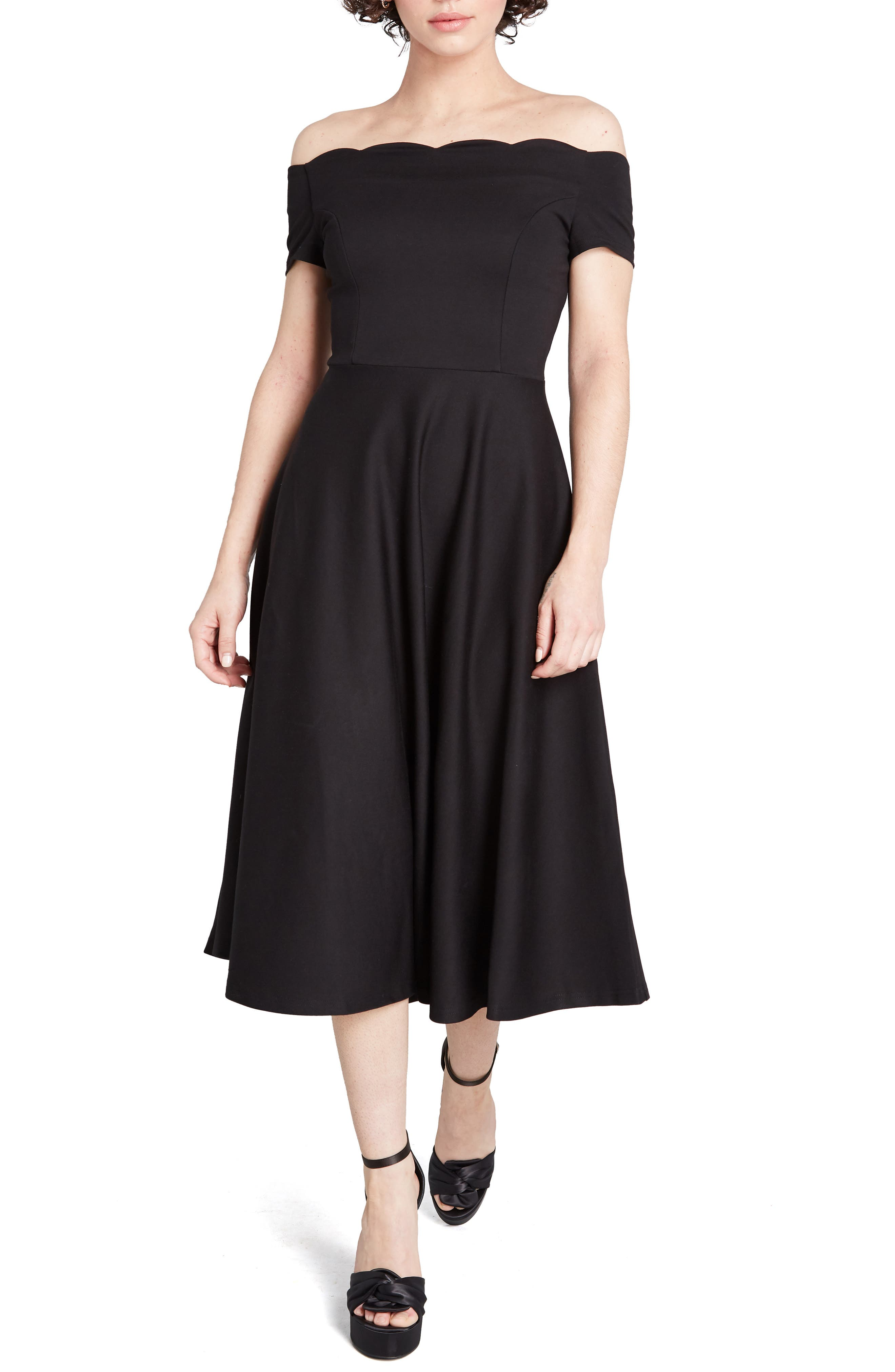 1950s Party Dresses & Prom Dresses for Sale Womens Modcloth Timeless Favorite Off The Shoulder Fit  Flare Dress $59.40 AT vintagedancer.com