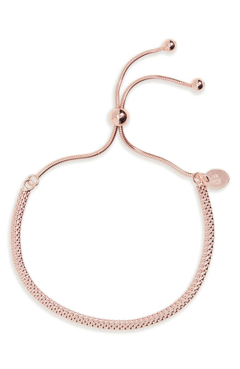 ARGENTO VIVO Mesh Slider Bracelet, Main, color, ROSE GOLD