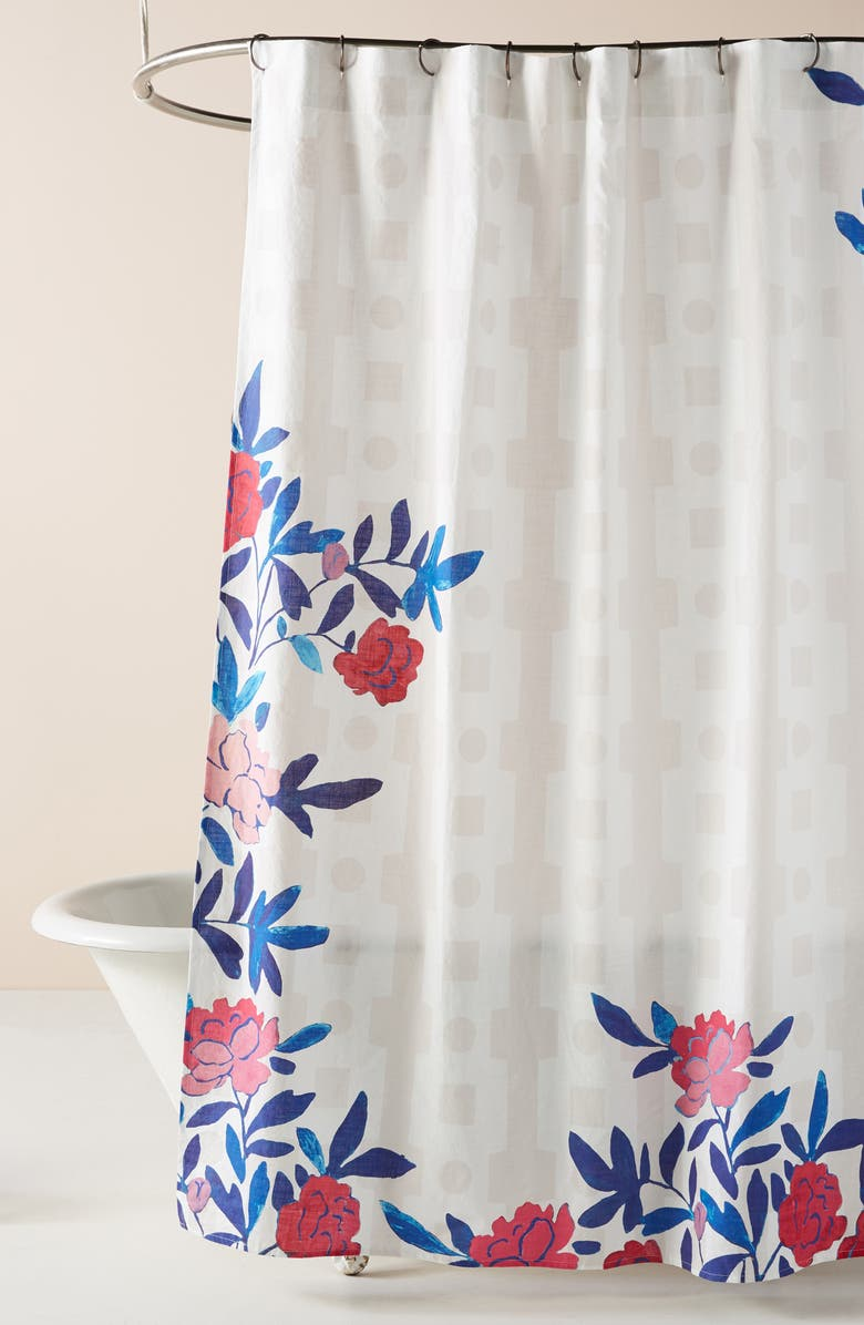 ANTHROPOLOGIE Paule Marrot Rose Vine Shower Curtain, Main, color, BLUE