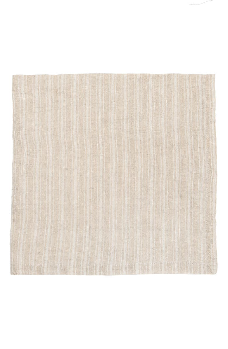 CARAVAN Set of 4 Boat Stripe Napkins, Main, color, NATURAL/ WHITE