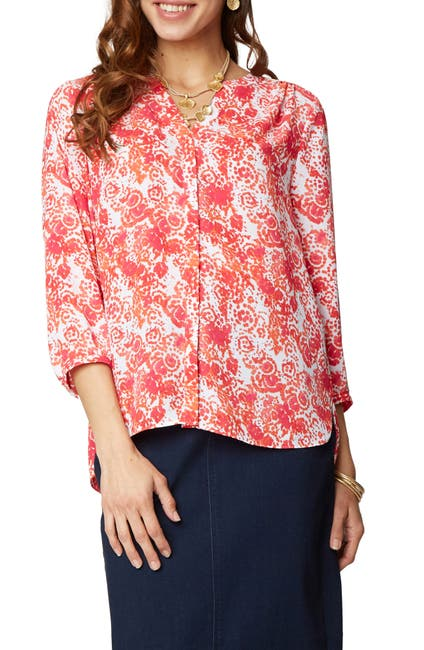 Image of NYDJ Pleat Back Crepe Blouse