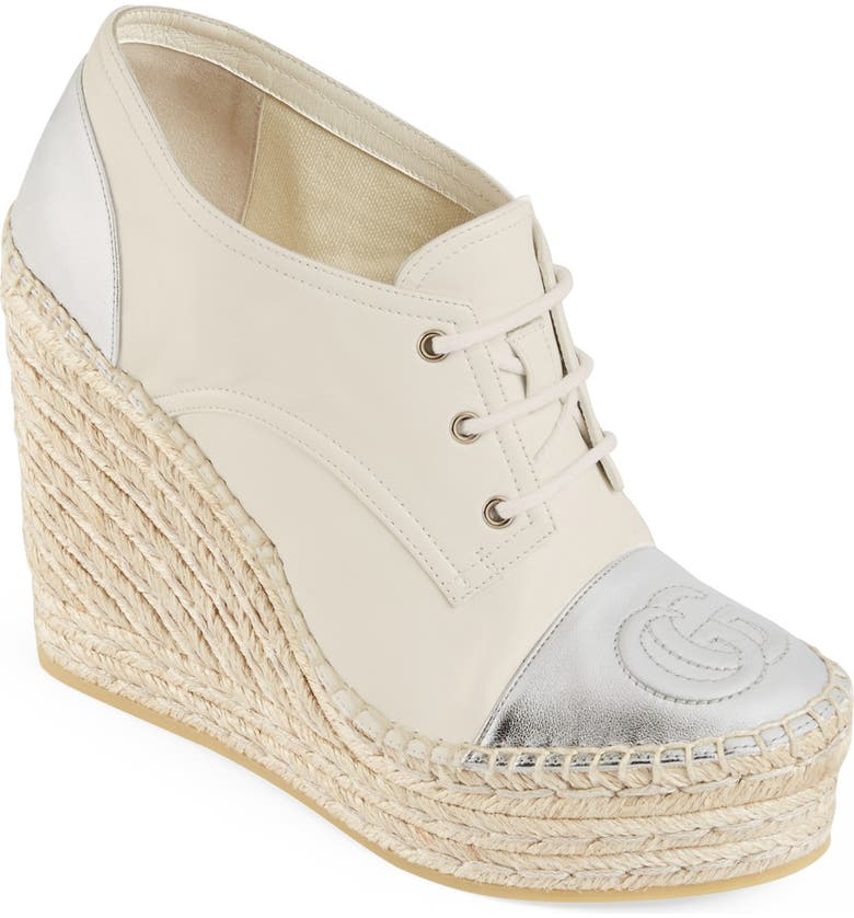 GUCCI Pilar Logo Cap Toe Espadrille Platform Wedge, Main, color, WHITE/ SILVER
