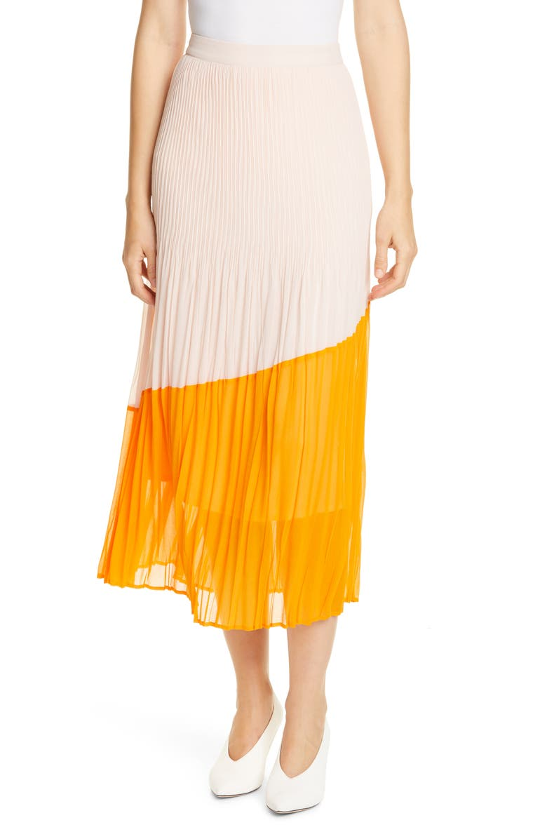 HUGO Relissy Colorblock Midi Skirt, Main, color, CHROME ORANGE