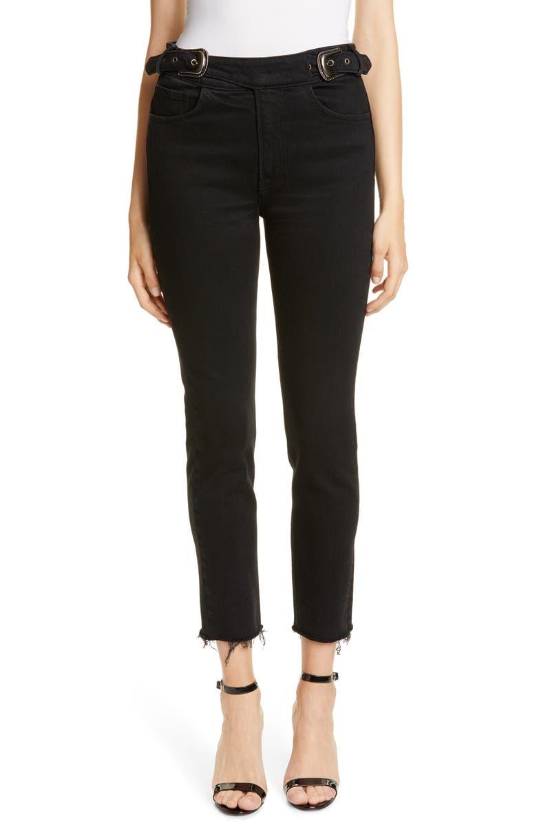 GRLFRND Zoey Double Buckle Slim Jeans, Main, color, 001