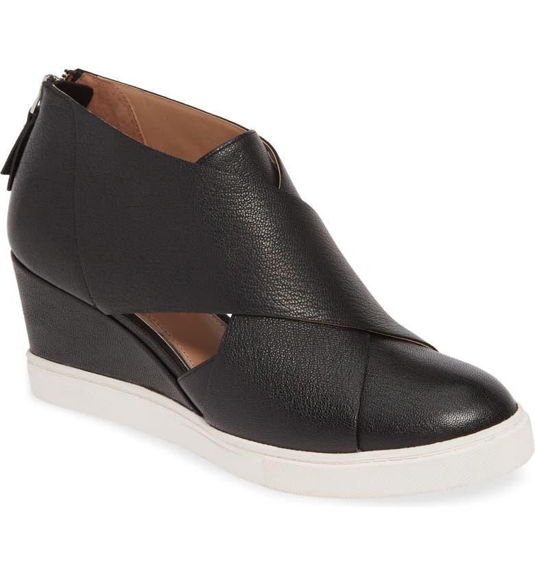 LINEA PAOLO Faith Wedge Sneaker, Main, color, BLACK LEATHER