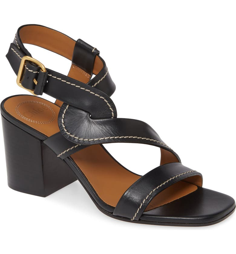 CHLOÉ Candice Block Heel Sandal, Main, color, BLACK