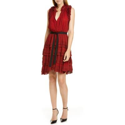 Jason Wu Ruffle Floral Dress, Red