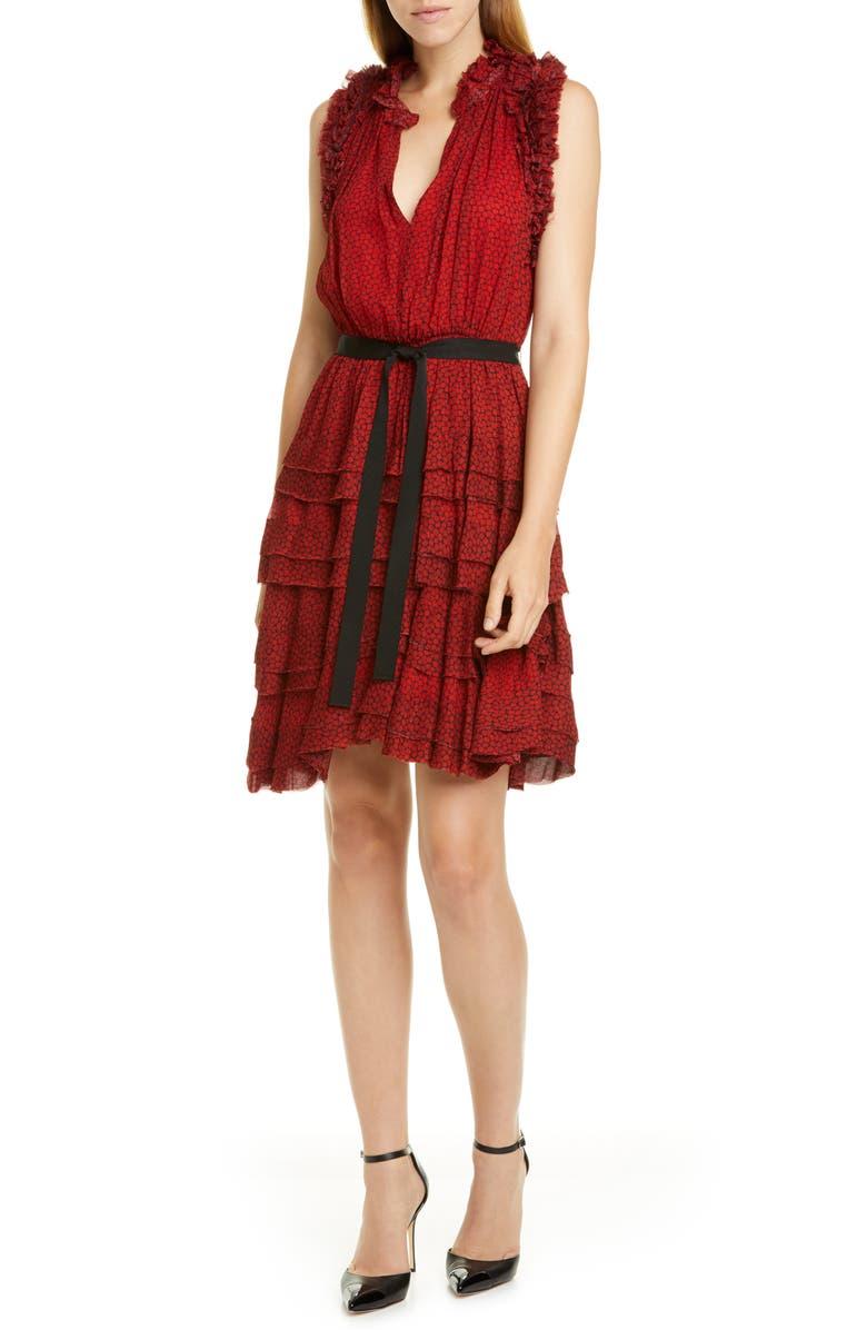 JASON WU Ruffle Floral Dress, Main, color, VERMILLION MULTI