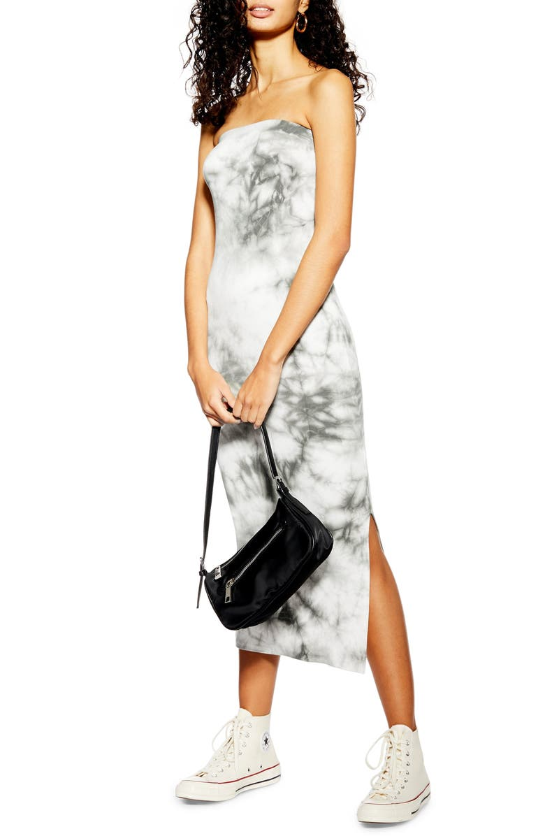 TOPSHOP Strapless Tie Dye Bandeau Midi Dress, Main, color, 020