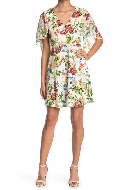 Image of TASH + SOPHIE Flounce Sleeve Floral Mini Dress