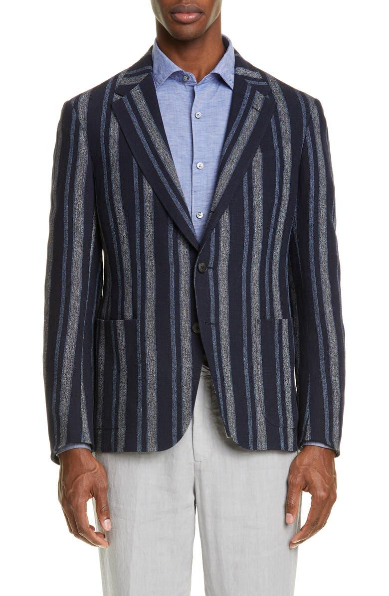 Z ZEGNA Pannel Slim Fit Stripe Linen Sport Coat, Main, color, 414