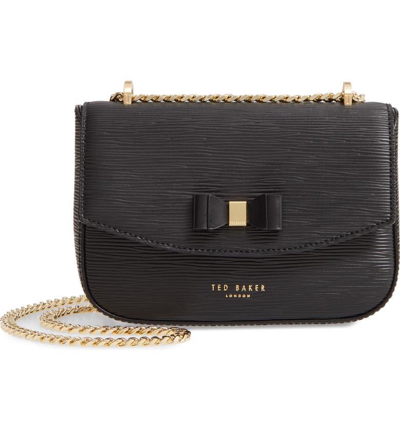 TED BAKER LONDON Daissy Bow Mini Leather Crossbody Bag, Main, color, 001