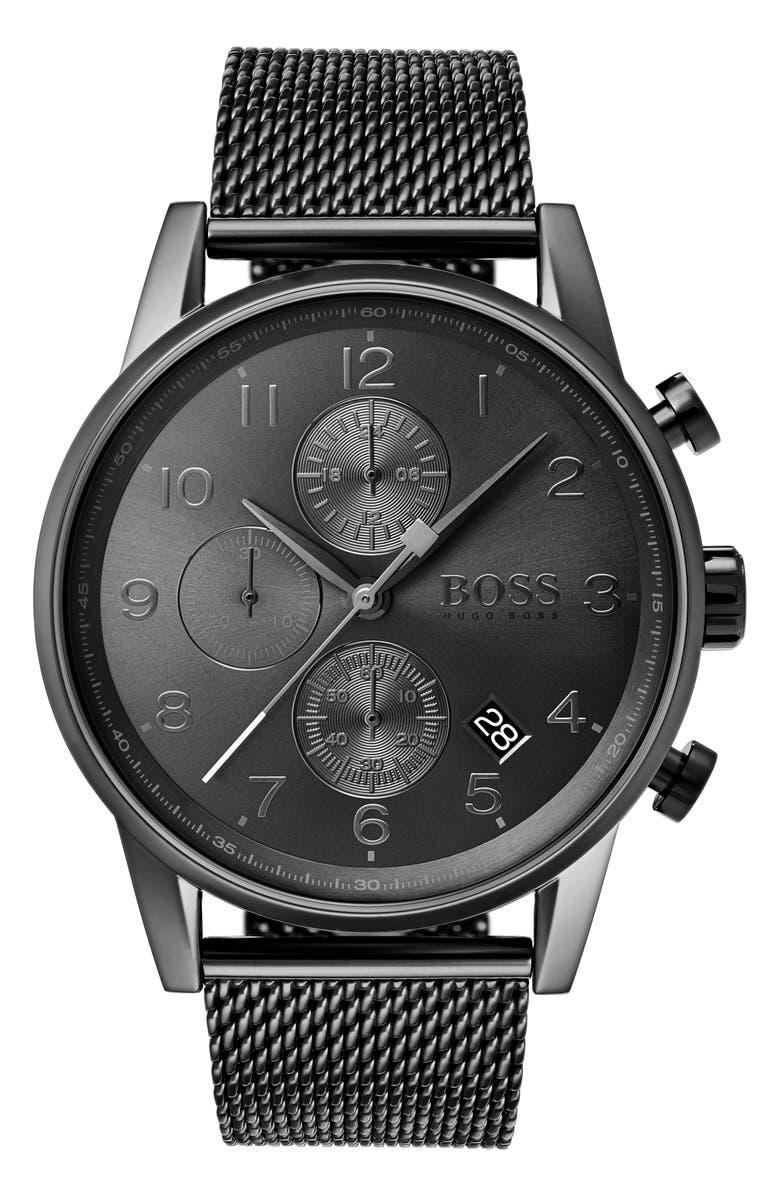 BOSS Navigator Chronograph Watch, 44mm, Main, color, GREY