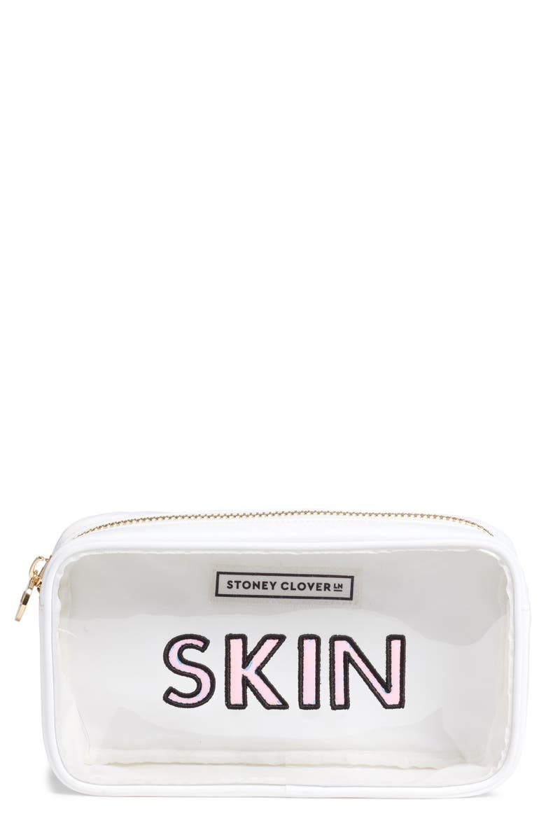 STONEY CLOVER LANE Skin Classic Small Cosmetics Bag, Main, color, WHITE