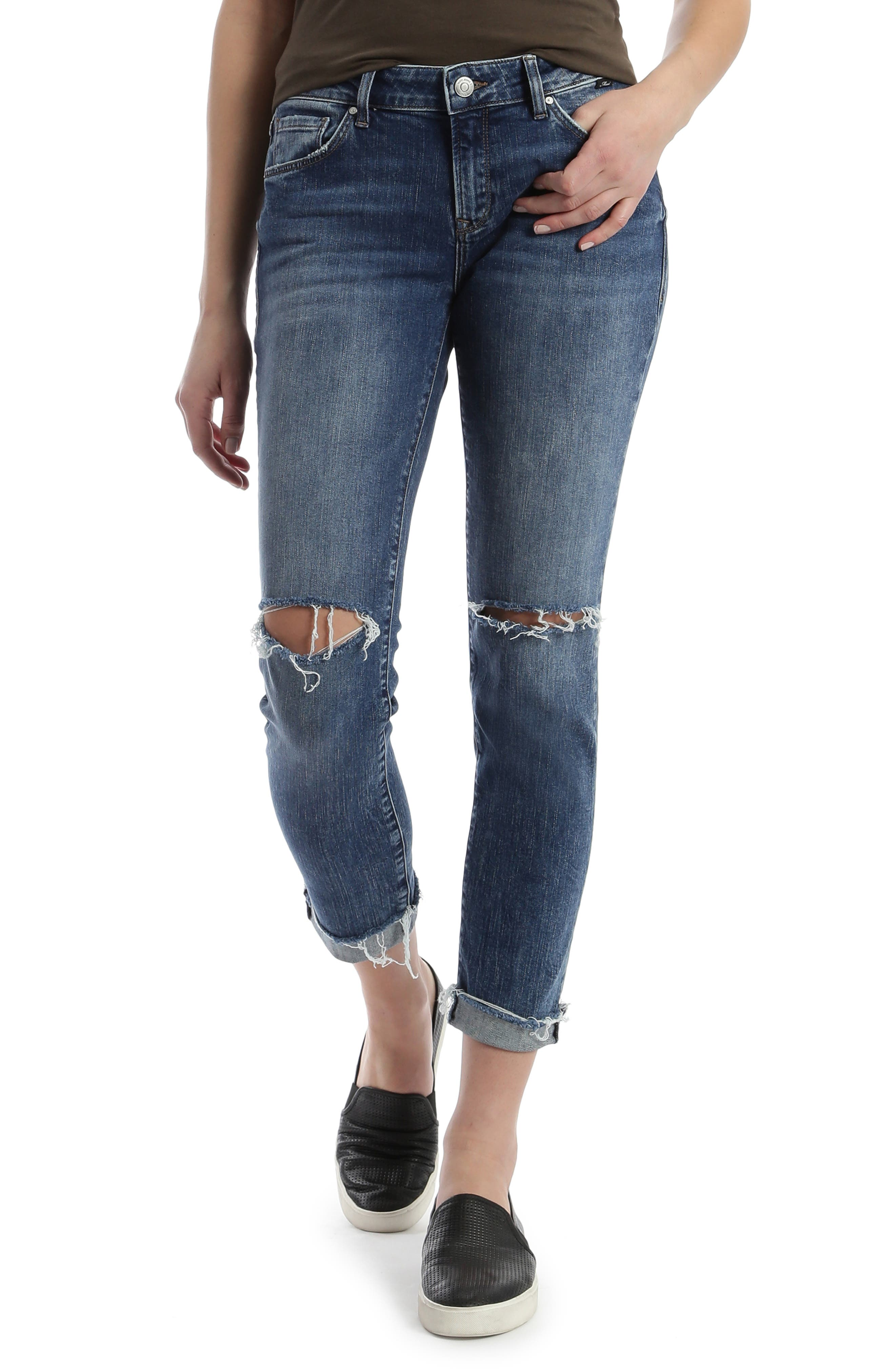 Your boyfriend jeans are back and are ready to get into trouble with ripped knees and cutoff cuffs. Style Name: Mavi Jeans Ada Ripped Boyfriend Jeans (Dark Ripped Vintage). Style Number: 5884395. Available in stores.