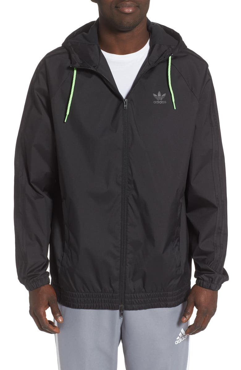 ADIDAS ORIGINALS adidas Winterized Windbreaker Water Repellent Jacket, Main, color, BLACK