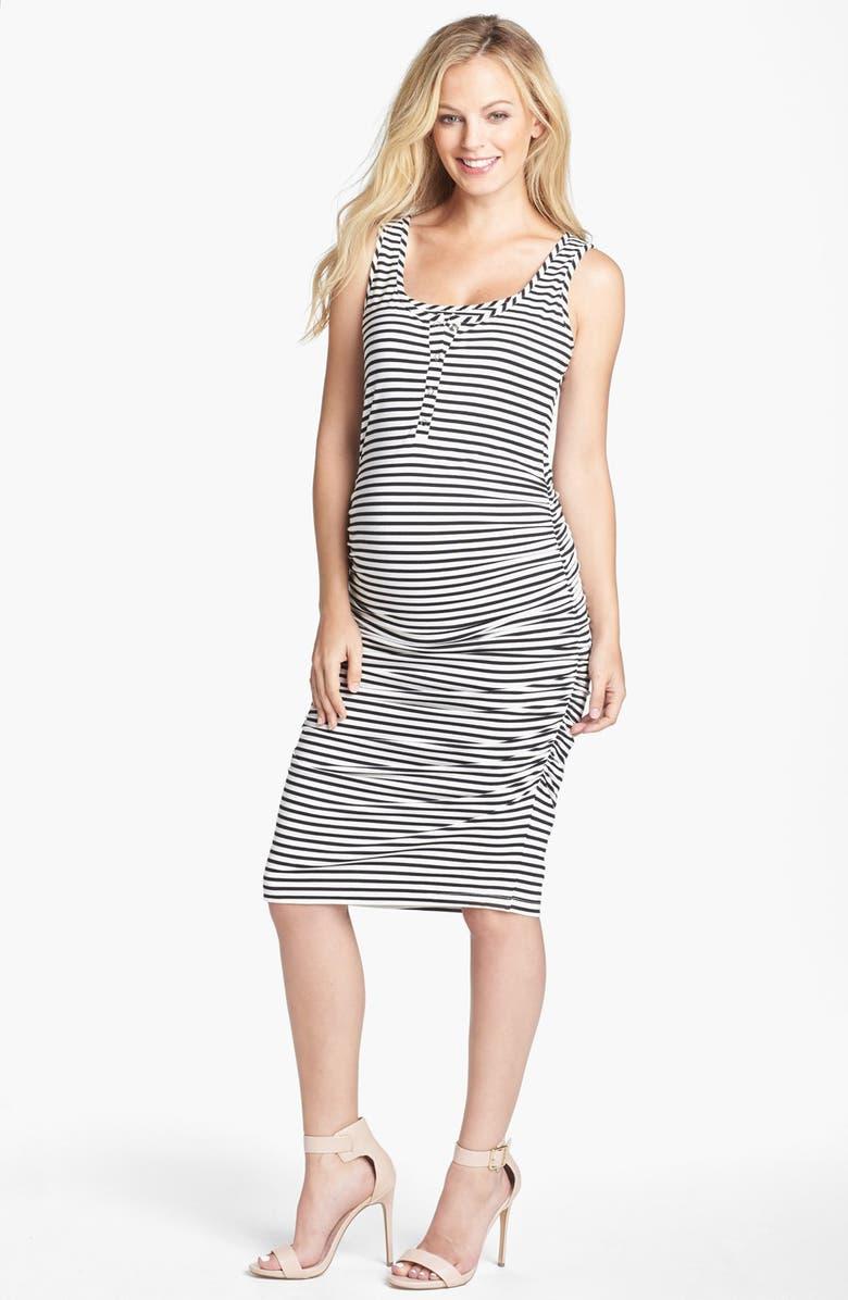 NOM MATERNITY Sleeveless Maternity/Nursing Dress, Main, color, BLACK/ WHITE STRIPE