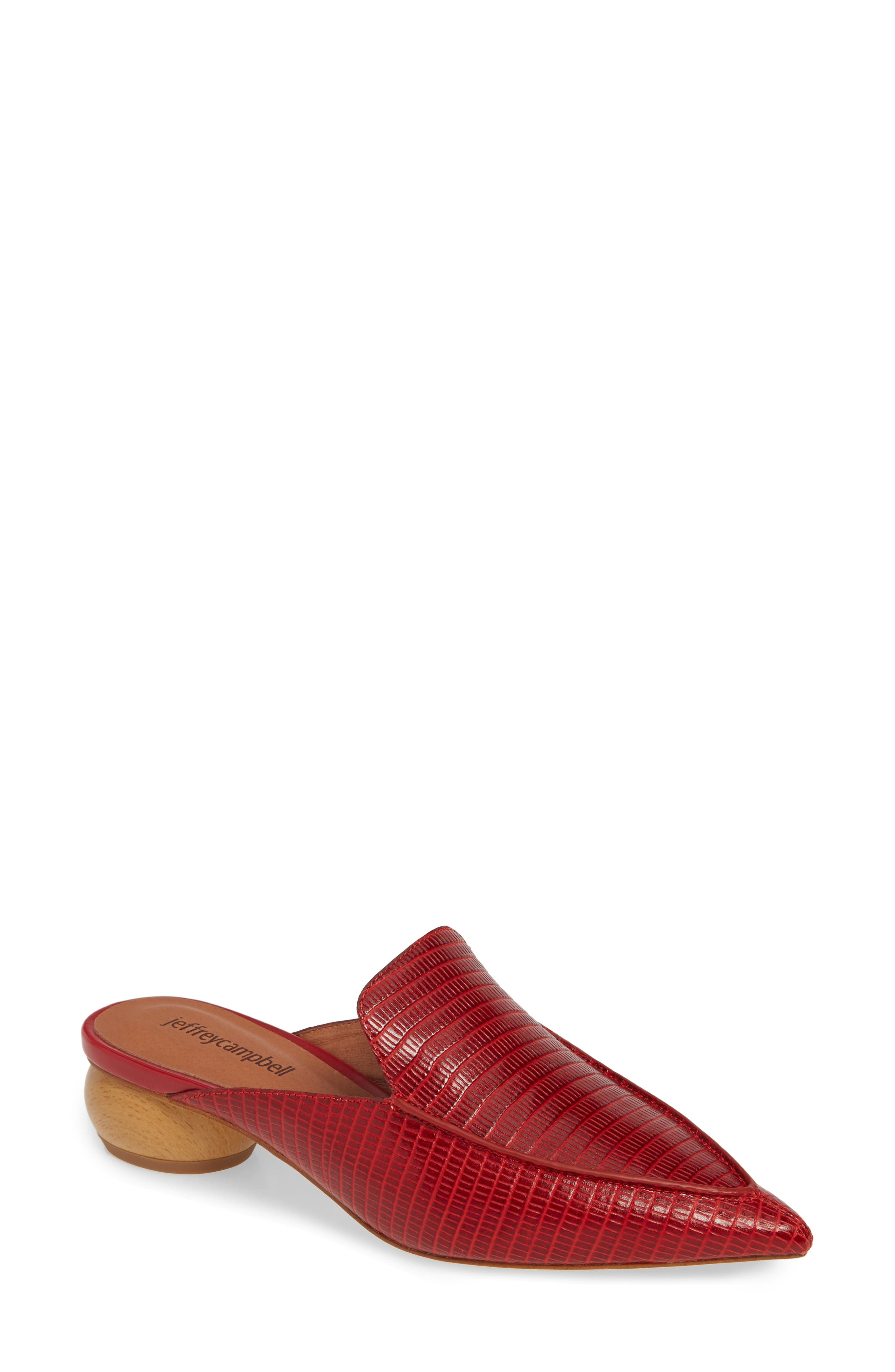 Jeffrey Campbell Vionit Lizard Embossed Loafer Mule, Red