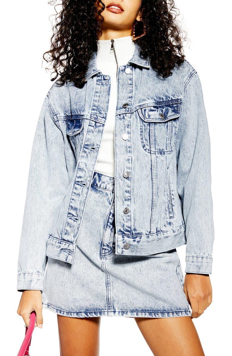 TOPSHOP Acid Wash Denim Jacket, Main, color, 420