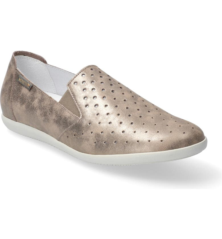 MEPHISTO Korie Perforated Slip-On, Main, color, DARK TAUPE SMOOTH LEATHER