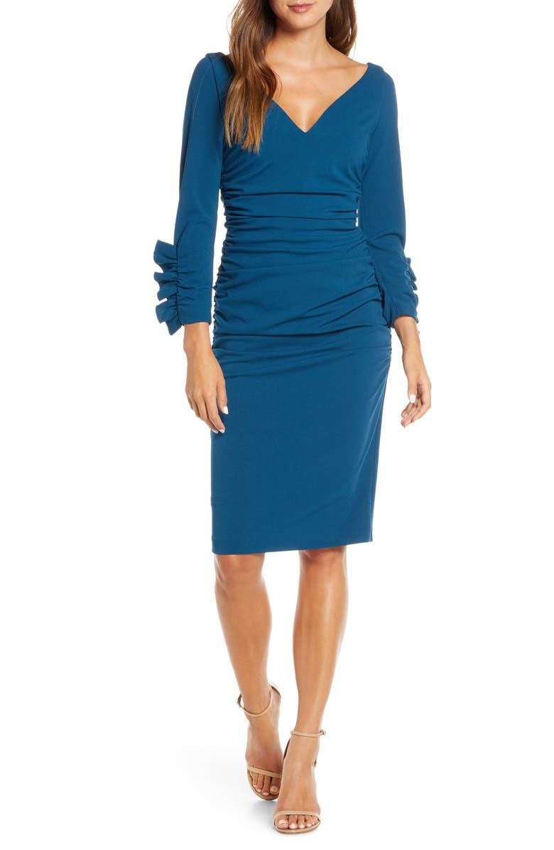 MARK + JAMES BY BADGLEY MISCHKA Ruched Long Sleeve Sheath Dress, Main, color, 400