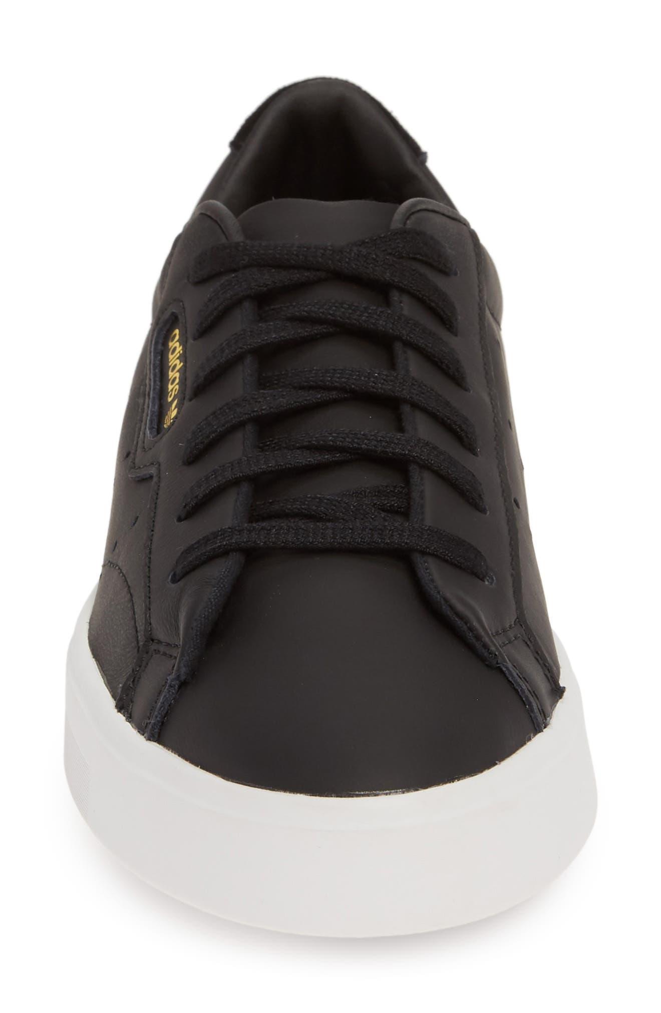 ,                             Sleek Leather Sneaker,                             Alternate thumbnail 4, color,                             CORE BLACK/ CRYSTAL WHITE